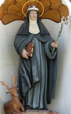 statue of Saint Catherine of Sweden, date unknown, artist unknown; Kloster Altomünster, Dachau, Bavaria, Germany; photographed on 25 April 2012 by GFreihalter; swiped from Wikimedia Commons