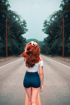 Woman Standing on Road · Free Stock Photo Red Hair Color, Brown Hair Colors, Color Pop, Short Grunge Hair, Simple Hairstyles, Short Hairstyle, Braided Hairstyles, Brown Blonde Hair, Blue Eyes