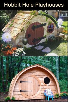 These Unique Playhouses Are Inspired by The Famous Hobbit Holes From The 'Lord of The Rings' Movie Hobbit Playhouse, Garden Playhouse, Hobbit Hole, The Hobbit, Hobbit Garden, Tree Plan, Cool Tree Houses, Tree House Designs, Xmas Tree Decorations
