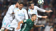 Real Madrid's defender from Spain Sergio Ramos, Real Madrid's defender from France Raphael Varane and Real Madrid's forward from Wales Gareth Bale. #realmadrid