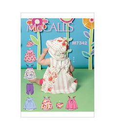 McCall Pattern M7342-YA5 Infants' Back-Bow Dresses, Panties, Leggings and Bucket Hat-All Sizes In One Envelope