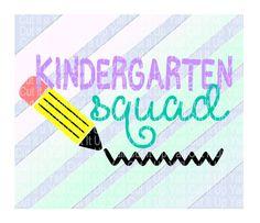 Kindergarten SVG, Pencil svg, Kindergarten Squad,  First Day of Kindergarten, Svg-Dxf-Png-Fcm, Cut Files For Silhouette Cameo/ Cricut. by…