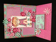 Handmade easel birthday card using sugar Nellie manga stamp by Sherie