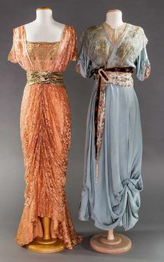 1 PINK & 1 BLUE EVENING GOWN, 1910-1912.