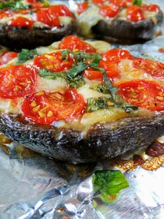 Stuffed Portobello Caps Tomato and mozzarella cheese stuffed mushroom caps baked…