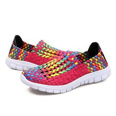 Colorful Woven Knitting Breathable Slip On Casual Shoes