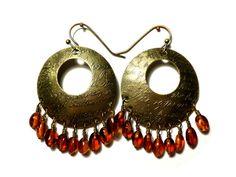 Brass Hoop Earrings with Amber  Artisan Bronze Hoop by StaggsLane