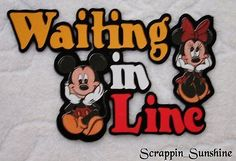 Disney Waiting in Line Scrapbook Page Paper Piece Die Cut Title Ssffdeb Paper Bag Scrapbook, Disney Scrapbook Pages, Scrapbook Titles, Scrapbook Page Layouts, Scrapbook Supplies, Scrapbooking Ideas, Disney Clipart, Disney Cards, Vacation Scrapbook
