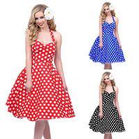 2642051c87c 2016 Hot sale Deep V-Neck Polka Dot Swing 50 s Housewife Pinup Dress Three  color