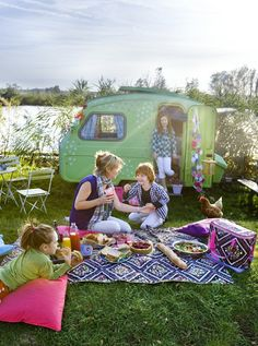 """This is so """"me.""""  Love the three kids, hippy picnic, cool green trailer, and the chicken(!)  What a wonderful fantasy, LOL!  ♥"""