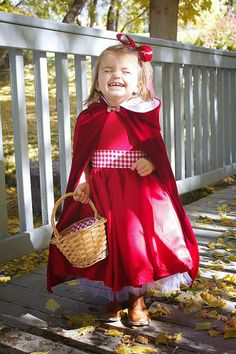 little red riding hood. will use a red peacoat we already have with a hood. Big stripe on red dress. leggings. basket.