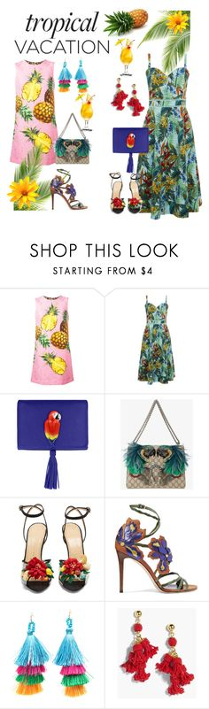 """""""Tropical Vacation"""" by nessaflds on Polyvore featuring Dolce&Gabbana, Nach Bijoux, Gucci, Charlotte Olympia, Jimmy Choo and J.Crew"""