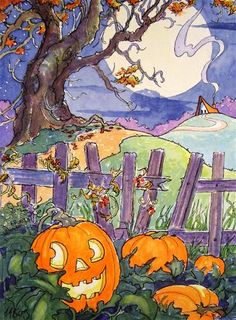 """Daily Paintworks - """"A Simple Halloween Storybook C..."""" by Alida Akers"""