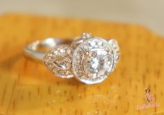 Heirloom petals ring - Diamond and pave 14k white gold engagement or wedding ring with certification.