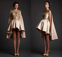 Top Selling Taffta Ball Gown Short Prom Dresses With Long Ti...