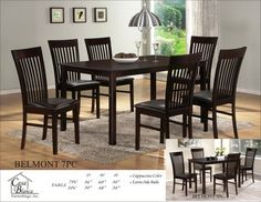 7 pc Belmont collection vertical slatted style back chairs and espresso finish wood dining table set and leather like vinyl seats
