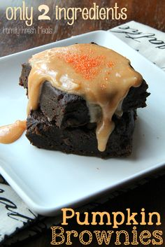 Two Ingredient Easy Pumpkin Brownies - Family Fresh Meals..... Just made and love how quick it was and they turned out yummy!