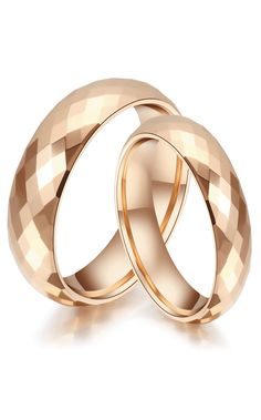 Domed + Faceted Matching Rose Gold Tungsten Wedding Bands for Women and Men @ iDream-Jewelry.Com