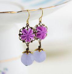 Flower Earrings Lilac Purple Earrings Spring by JacarandaDesigns
