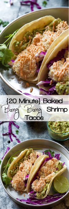 A healthier restaurant classic! Baked Bang Bang Shrimp Tacos are made with a Greek Yogurt Chile sauce that's TDF: To. Die. For.