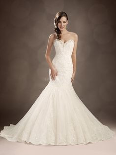 Delicate Sweetheart Mermaid Tulle Dropped Waist Floor Length Wedding Dresses