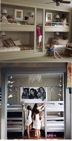 Cool bunk bed ideas in case we ever have a   cabin or need to put 4 kids in one room.