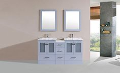 "60"" Hermosa Gray Double Modern Bathroom Vanity with Side Cabinet and Integrated Sinks #BathroomRemodel #BlondyBathHome #BathroomVanity  #ModernVanity"
