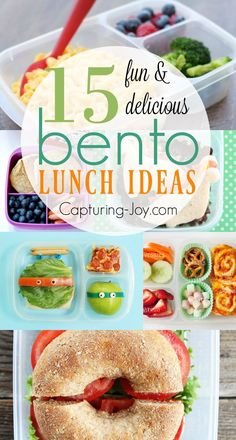 15 Fun and Delicious Bento Lunch Ideas for back to school. Great ideas for mixing it up at lunch time. Capturing-Joy.com