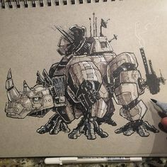 An RJ-217 Sort Range Communication and Defensive Armored Rhino. Sketched this with a Pentel Pocket Brush Pen Touch Markers and a 005 TouchLiner.  Also it's #marchofrobots and  @saltlakecomiccon #fanX coming up. Bonus!  Happy March of Robots friends!  #Pentel #brushpen #utahartist #touchmarkers #sketchoftheday #art #drawinkrender #drawingoftheday #rhino #wildlifeart #rhinoart #jurassicworld #jurassicpark #comicart #pencils #pencildrawing #slcc16 #fanx16  #utahartist #sketch_dailies…