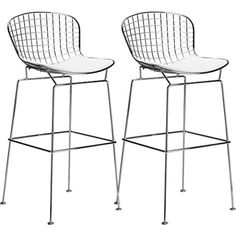 Poly and Bark Bertoia Style Wire Bar Stool in White (Set of * You can find more details by visiting the image link. (This is an affiliate link)