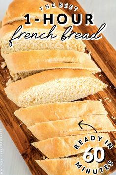 This French Bread recipe takes just one hour from start to finish. It makes 2 large loaves that serve 8 people each and will cost just per serving! Easy French Bread Recipe, Best Bread Recipe, Easy Bread Recipes, Pastry Recipes, Side Dish Recipes, Baking Recipes, Baking Breads, Quick Bread, Cookie Recipes