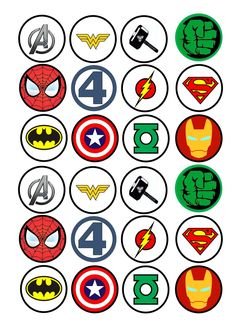 24 Avengers Super hero logos - cupcake / fairy cake icing topper - Visit to grab an amazing super hero shirt now on sale! Avenger Party, Avenger Cake, Avenger Cupcakes, Superhero Classroom, Superhero Cake, Superhero Logos, Avengers Birthday, Superhero Birthday Party, Superman Party