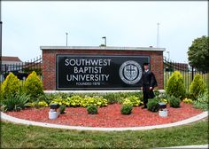 Entrance to Southwest Baptist University in Bolivar, Missouri. Guess they changed the sign. That wasn't like that when I was there