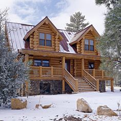 Beautiful!  I would love a log cabin built in the mountains and wake up with snow on the ground and in the tree's.