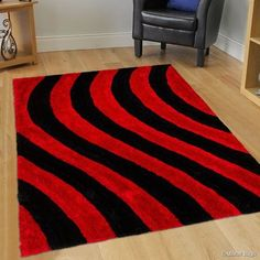 Allstar Red Shaggy Area Rug with Black Lines Design. Contemporary Formal Casual Hand Tufted x