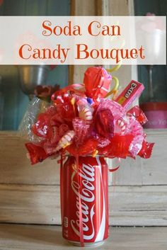 How To Make A Soda Can Candy Bouquet- fun party centerpiece and gift idea!