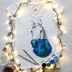 Koszulka ręcznie malowana z koniem hand painted t-shirt horse watercolor, tattoo, water, sketch