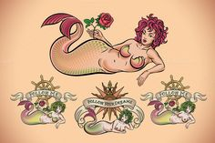 Old School Tattoo of a Mermaid (5x) by Artefy's Graphic Bar on Creative Market