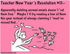 Teacher Humor from The Pensive Sloth New Year's Resolutions