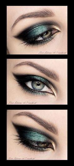 Green and black eye shadow
