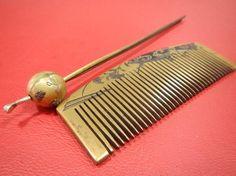 10 antique comb, jade hairpin, barrette Kimono accessories ☆ ☆ _ kimono image 2