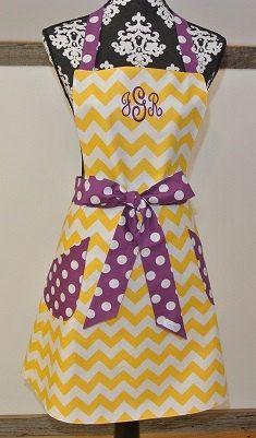 Personalized Yellow Chevron with Purple Polka Dot by LizzysBiz, $41.00