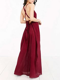 Shop Wine Red Cross Back Maxi Dress online. Sheinside offers Wine Red Cross Back Maxi Dress & more to fit your fashionable needs. Free Shipping Worldwide!