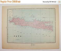 Vintage Map of Java, East Indies Island of Java Map 1900 Vacation Gift idea, 1st Anniversary Gift for Couple, East Indies Travel Map available from OldMapsandPrints.Etsy.com #Java #EastIndiesIslandofJava