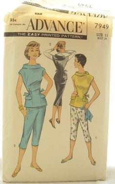 1950s Advance 7949 Pants Trousers and Blouse Vintage by EmSewCrazy, $12.00