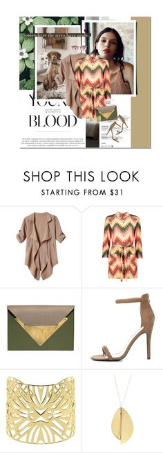 """young blood"" by lifestyle-ala-grace ❤ liked on Polyvore featuring Dareen Hakim, Qupid, Vélizance, Ray-Ban, Spring, dress, chevron, shirtdress and khaki"