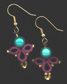 tatting beaded earrings :) pretty purple