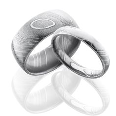Damascus Steel Wedding Ring Set | Free Shipping | CAMOKIX