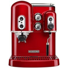 KitchenAid Pro Line KES2102 Manual Espresso Maker found on Polyvore featuring home, kitchen & dining, small appliances, kitchen, candy apple red, steam boiler, kitchen aid small appliances, cappuccino maker, espresso cappuccino machine and hot water boiler