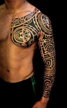 """Sleeve"" tattoo for girls and boys - maori tattoos - Tattoo sleeve for girls and boys - Tribal Chest Tattoos, Chest Tattoos For Women, Girls With Sleeve Tattoos, Boy Tattoos, Body Art Tattoos, Tattoos For Guys, Eagle Tattoos, Cross Tattoos, 42 Tattoo"